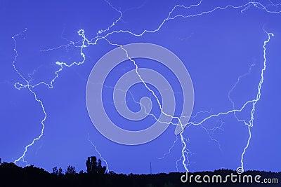 Lightning in the rain sky