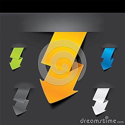 Free Lightning Shaped  Arrow Set Royalty Free Stock Image - 19608136