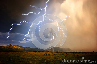 Lightning in a storm Stock Photo