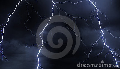 Lightning in stormy sky