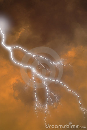Free Lightning Strike In Clouds Stock Photos - 2093473