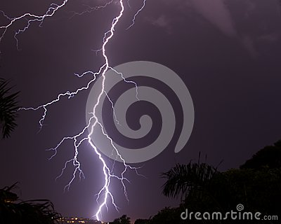 Lightning strike in the night s sky