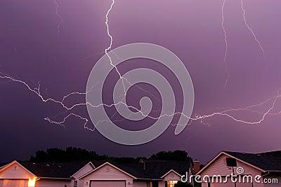 Lightning strike spanning the sky