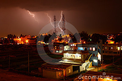 Lightning strike on telecommunications tower