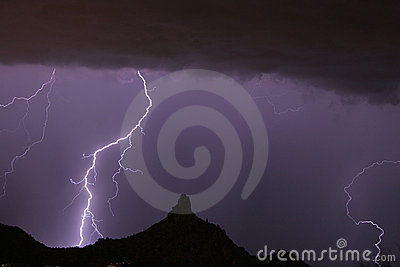 Lightning Striking at Pinnacle Peak