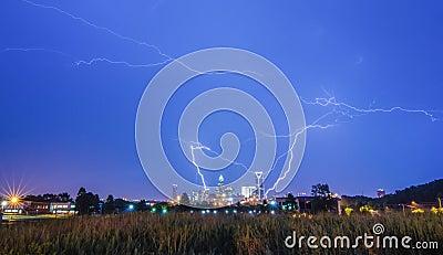 Lightning thunder bolts over charlotte