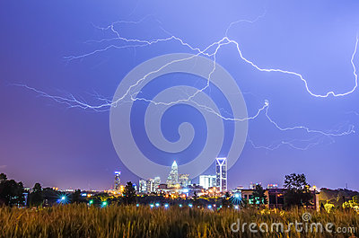 Lightning thunder bolts over charlotte