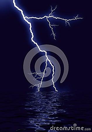Lightning water reflection