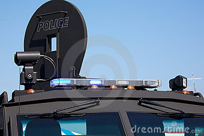 Lights on an armoured police vehicle Editorial Stock Image