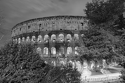 Lights of Colosseum at Night