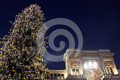 Lights in Duomo Square during Christmas holidays, Milano Editorial Stock Image