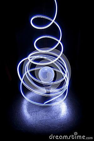 Lights encircling a bulb