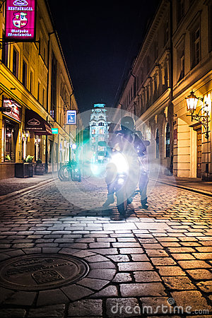 Lights of Motocycle at night in Wroclaw Editorial Image