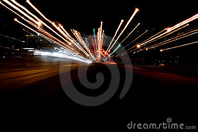 Lights night traffic
