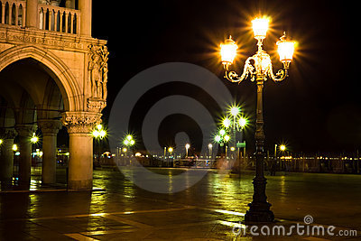 Lights on Piazza San Marco at the night