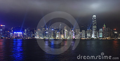 Lights show in Hong Kong