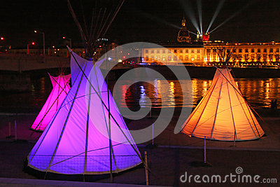 Lights and tents on Rhone river Editorial Image