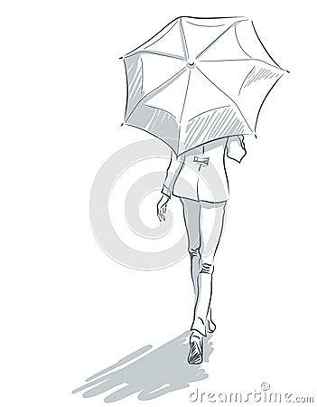 ligne art avec le dos de femme sous le parapluie illustration de vecteur image 66931785. Black Bedroom Furniture Sets. Home Design Ideas