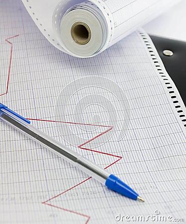 Ligne de tendance sur le papier marqué