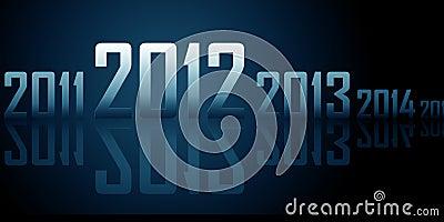 Ligne des ans avec les réflexions (thème de 2012 ans)
