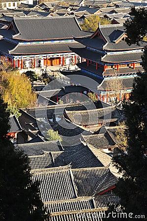 Lijiang old town roofs and Mu House. Yunnan, China