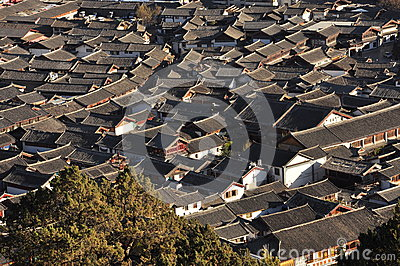 Lijiang old town roofs. Yunnan, China