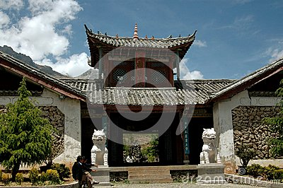 Lijiang Twp, China: Ju Zhu Qing Tian Stone Village Editorial Stock Photo