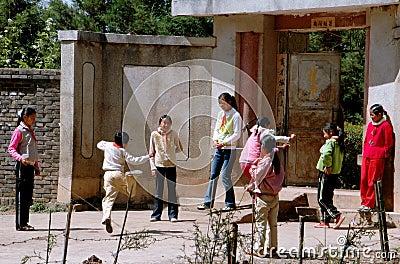 Lijiang Twp, China: Naxi Schoochildren at Play Editorial Image