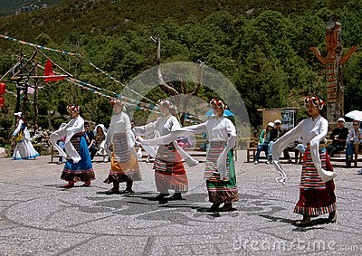 Lijiang Twp, China: Naxi Women Dancing Editorial Photography