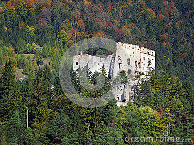 Likava Castle ruin hidden in forest