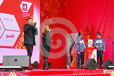 Likbez and Liza Lukashina perform on stage Editorial Stock Photo