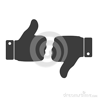 Free Like And Dislike Icon. Thumbs Up And Thumb Down, Hand Or Finger Illustration On Transparent Background. Stock Photo - 113029740