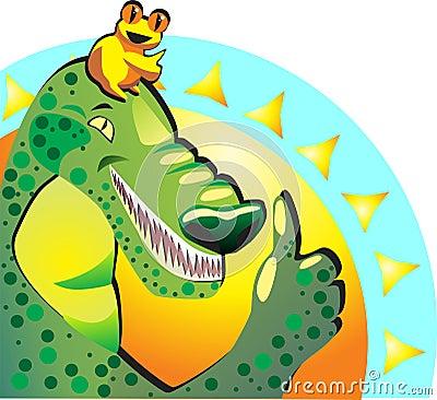 Like. Joyful happy frog and crocodile show thumbs up. They appro Vector Illustration