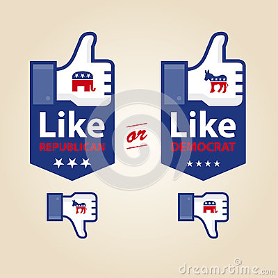 Like republican or democrat for presidential elect Editorial Stock Photo