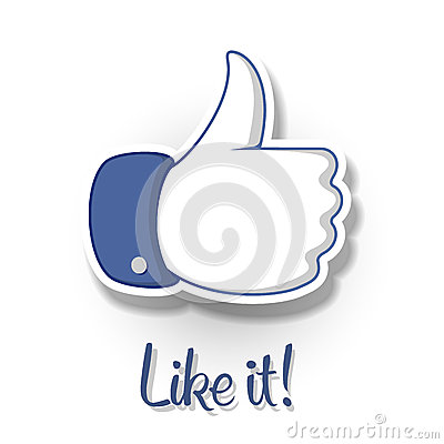 Like/Thumbs Up symbol icon on white background Editorial Image