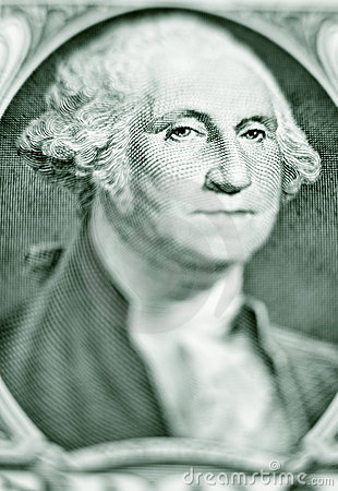 Likeness of George Washington on one dollar bill
