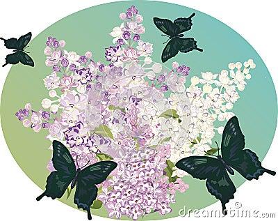 Lilac flower branch and dark butterflies