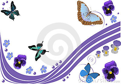 Lilac flowers, butterflies and curls