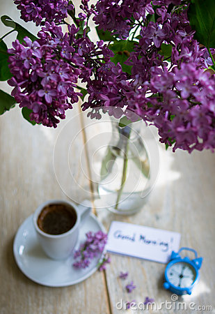 Lilac Flowers And Coffee Stock Image Image Of Beverage