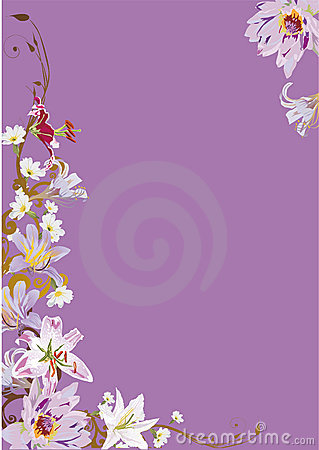 Lilac illustration with lily flowers