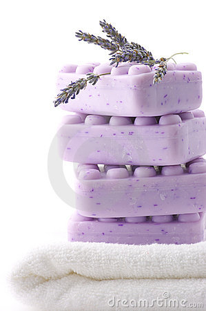 Lilac soap, towel and lavander