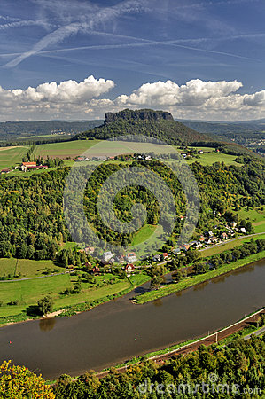 Free Lilienstein Mesa Above The River Elbe. Stock Image - 34096271
