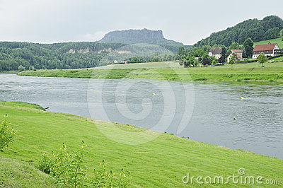 Lilienstein rock with elbe river scenic .