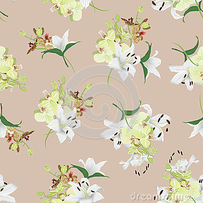 Free Lilies And Orchids Almond Seamless Vector Background Royalty Free Stock Image - 48531576