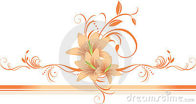 Lilies with floral ornament on the stylish border