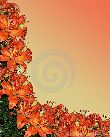 Lilies Watercolor orange floral
