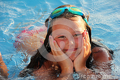 Lillte Girl in the pool