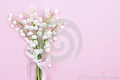 Lilly of the valley flowers on bright pink background.
