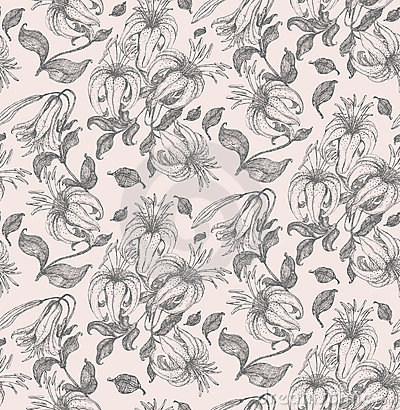 Lily drawing seamless pattern