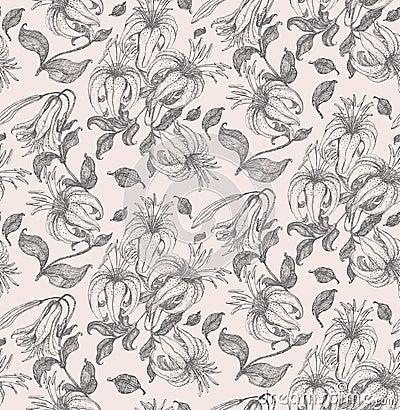 Lily drawing seamless pattern